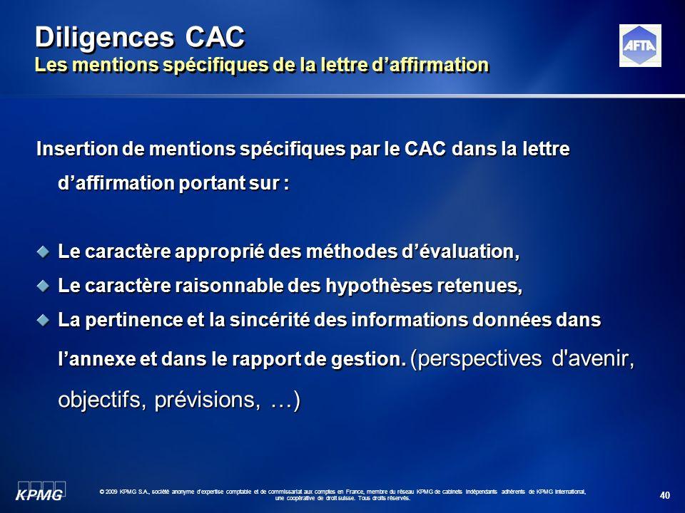 Diligences CAC Les mentions spécifiques de la lettre d'affirmation