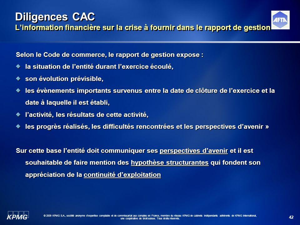 Diligences CAC L'information financière sur la crise à fournir dans le rapport de gestion