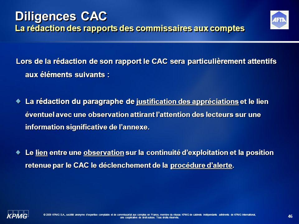 Diligences CAC La rédaction des rapports des commissaires aux comptes