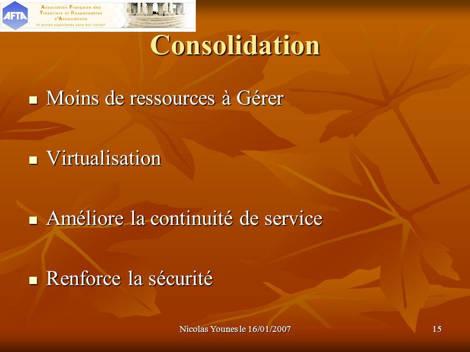 Consolidation Moins de ressources à Gérer Virtualisation