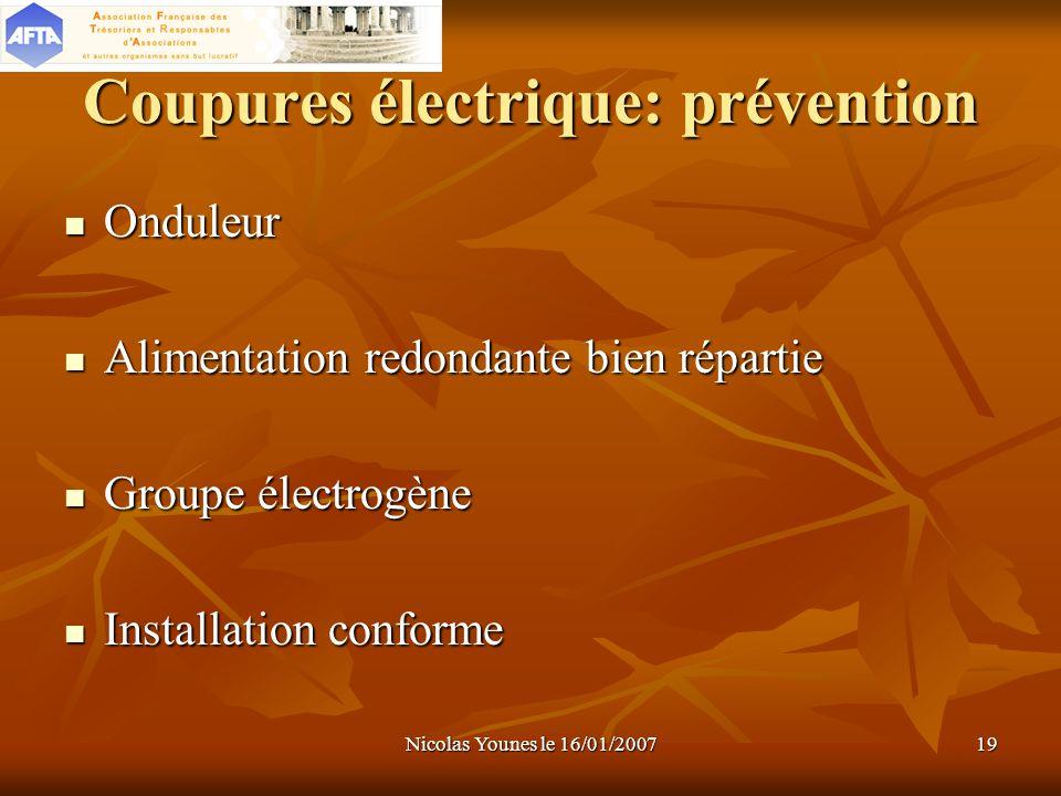 Coupures électrique: prévention