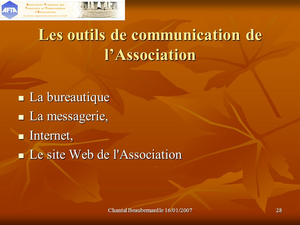 Les outils de communication de l'Association