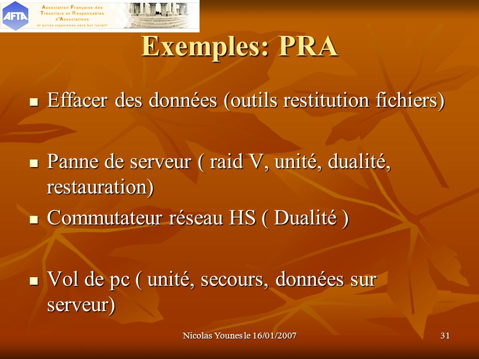 Exemples: PRA Effacer des données (outils restitution fichiers)