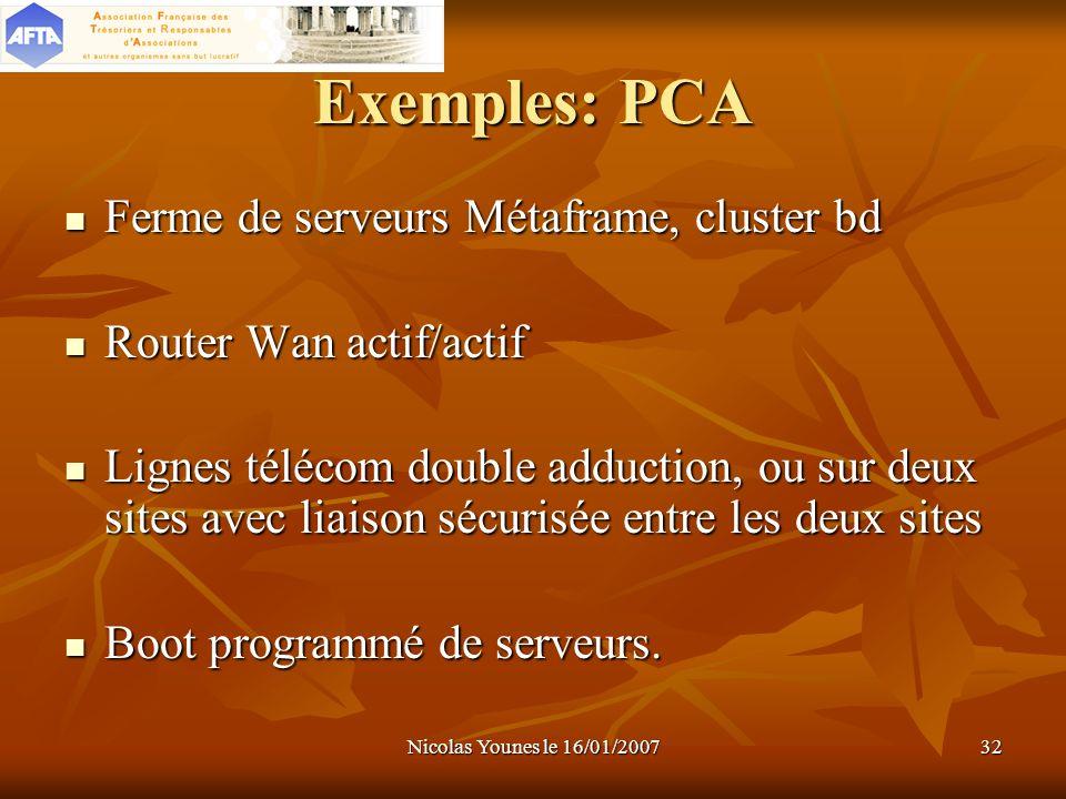 Exemples: PCA Ferme de serveurs Métaframe, cluster bd
