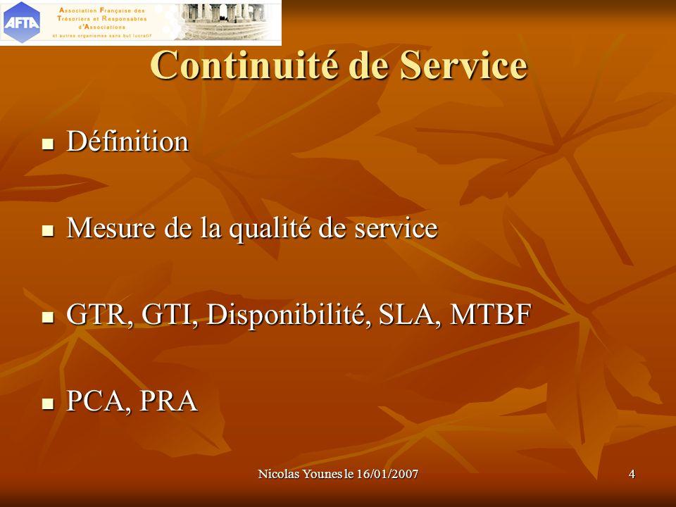 Continuité de Service Définition Mesure de la qualité de service