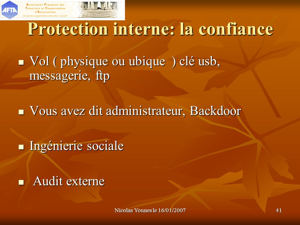 Protection interne: la confiance