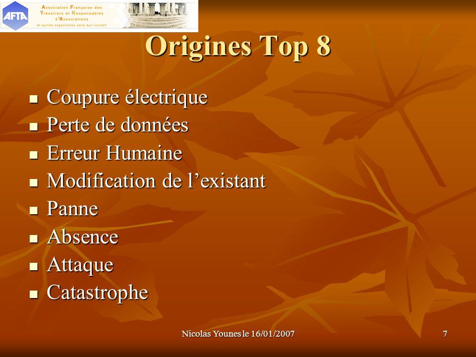 Origines Top 8 Coupure électrique Perte de données Erreur Humaine
