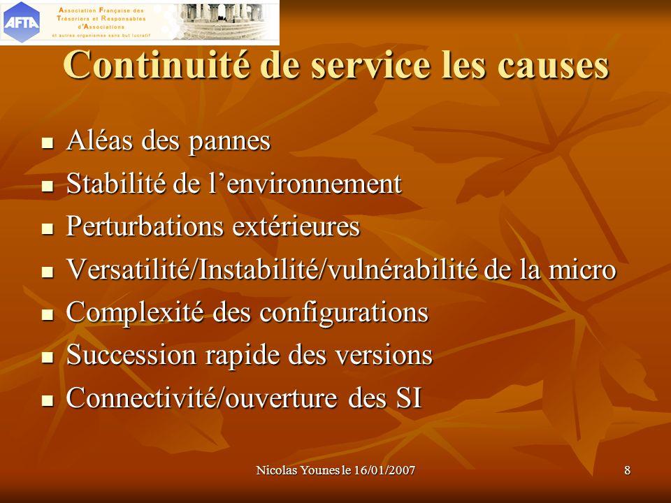 Continuité de service les causes
