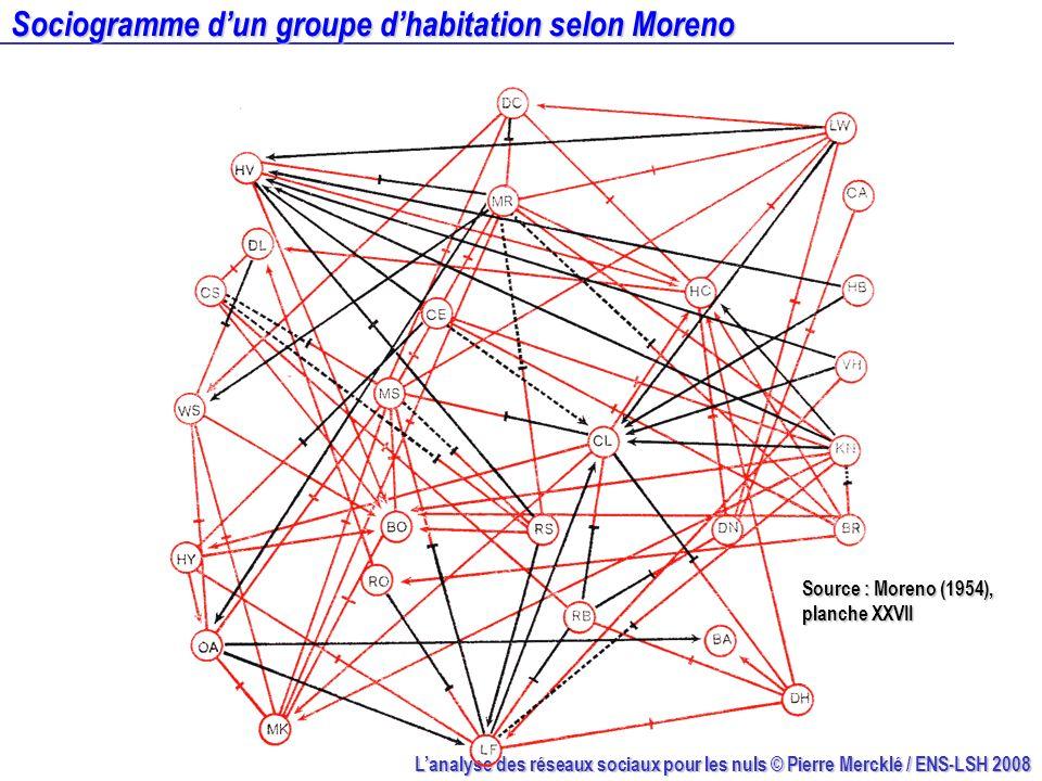 Sociogramme d'un groupe d'habitation selon Moreno