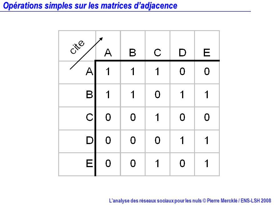 Opérations simples sur les matrices d'adjacence