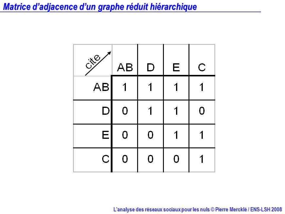 Matrice d'adjacence d'un graphe réduit hiérarchique