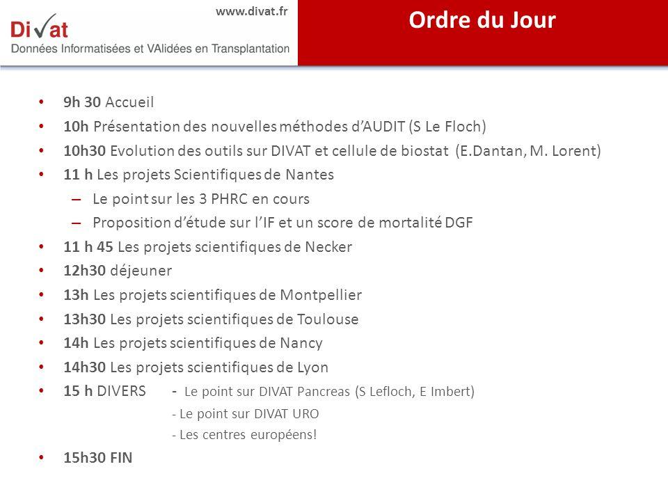 Ordre du Jour 9h 30 Accueil. 10h Présentation des nouvelles méthodes d'AUDIT (S Le Floch)