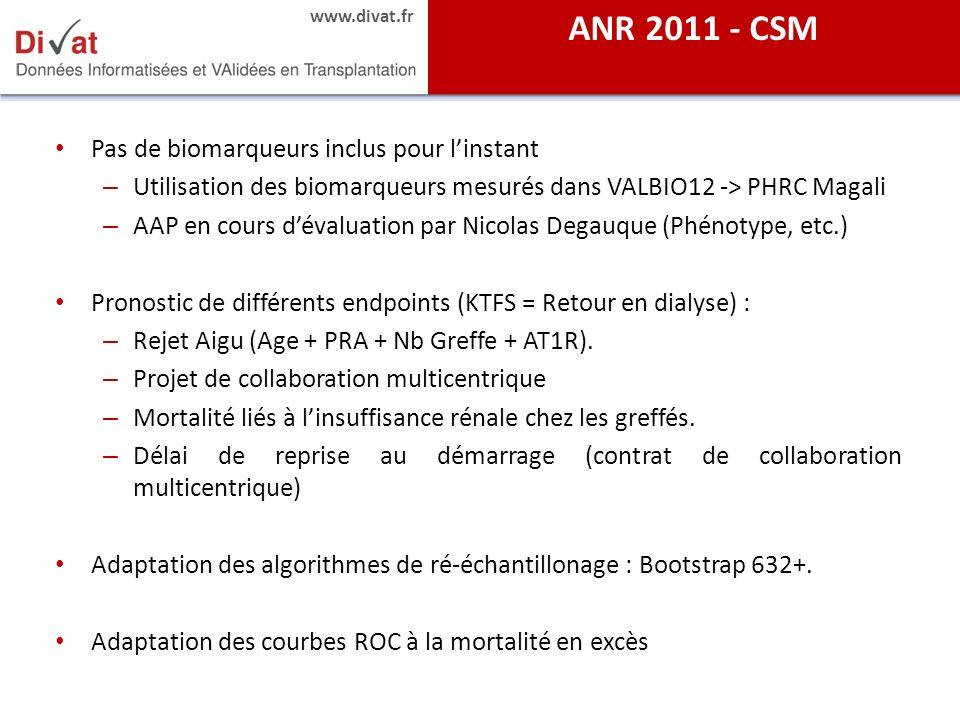 ANR 2011 - CSM Pas de biomarqueurs inclus pour l'instant