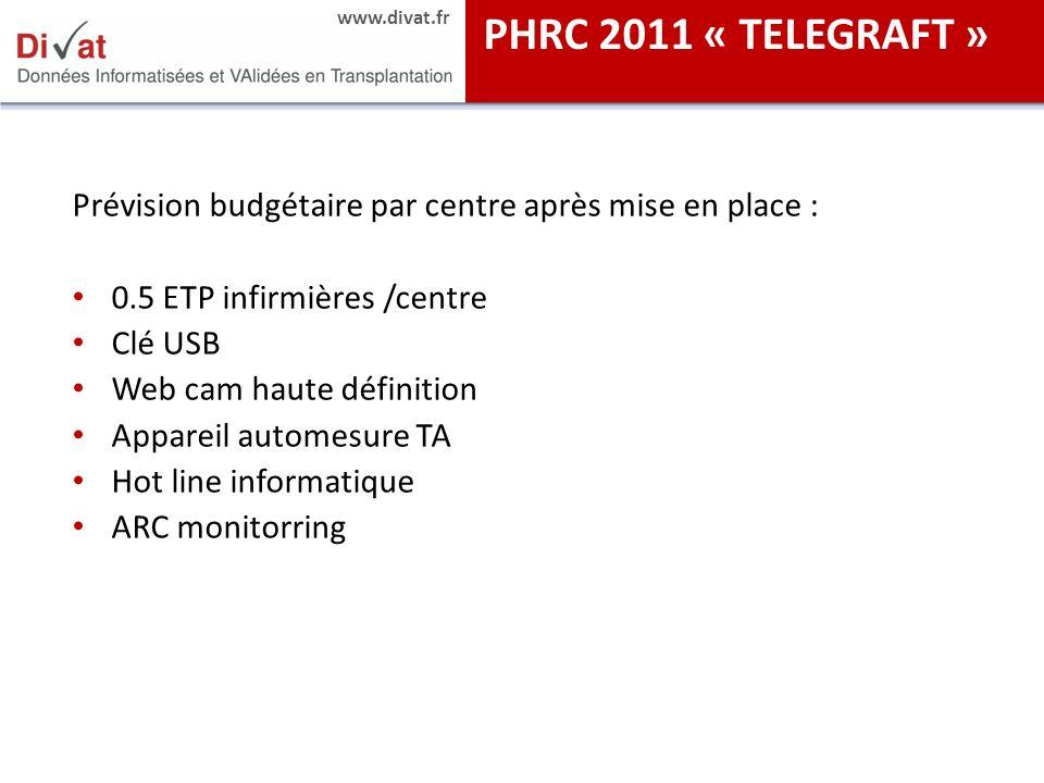 PHRC 2011 « TELEGRAFT » Prévision budgétaire par centre après mise en place : 0.5 ETP infirmières /centre.