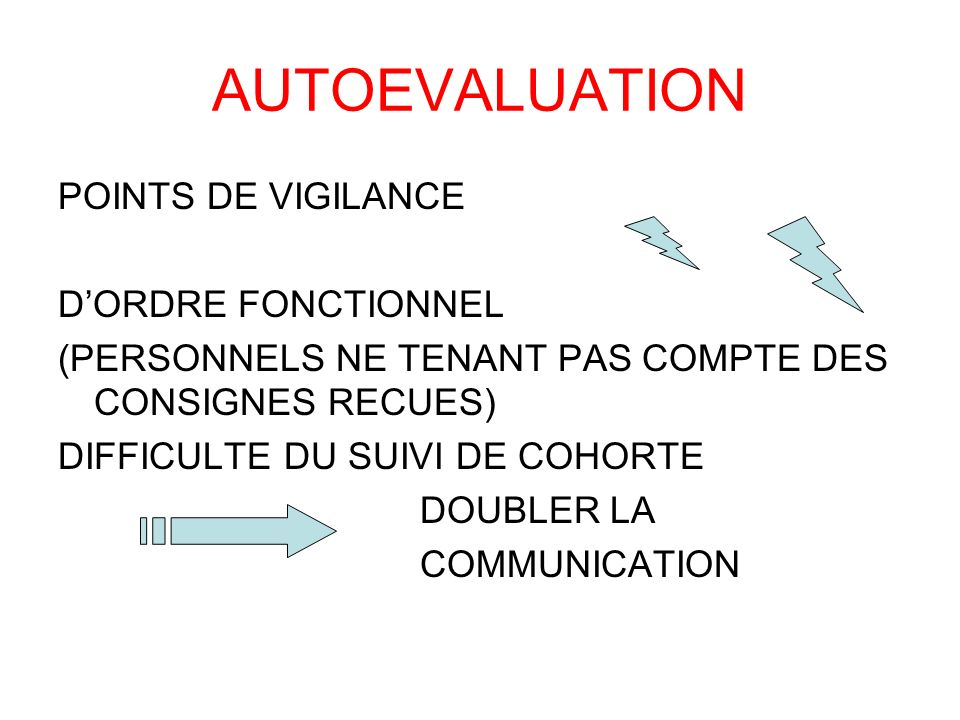 AUTOEVALUATION POINTS DE VIGILANCE D'ORDRE FONCTIONNEL