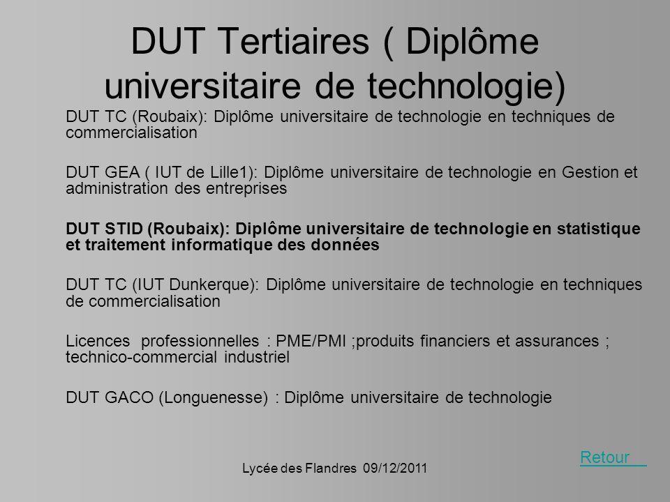 DUT Tertiaires ( Diplôme universitaire de technologie)