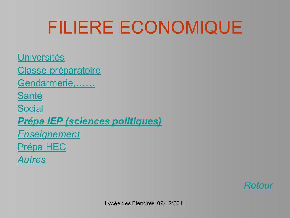 FILIERE ECONOMIQUE Universités Classe préparatoire Gendarmerie,……