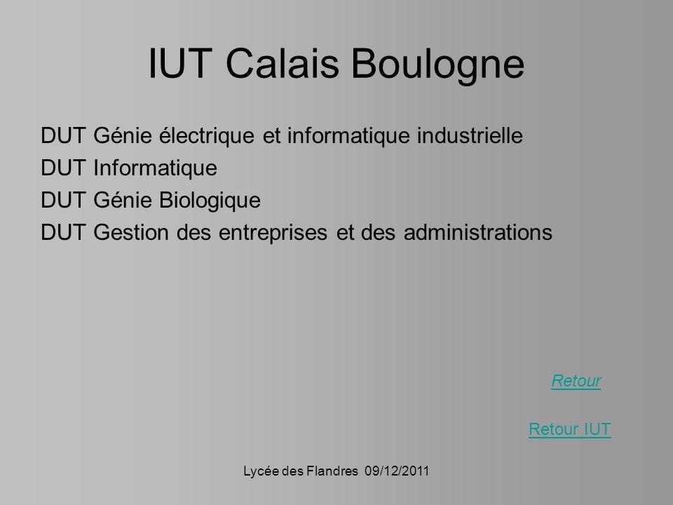 IUT Calais Boulogne DUT Génie électrique et informatique industrielle