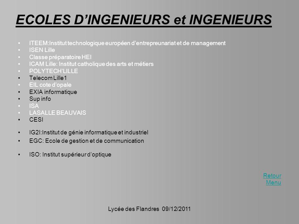 ECOLES D'INGENIEURS et INGENIEURS