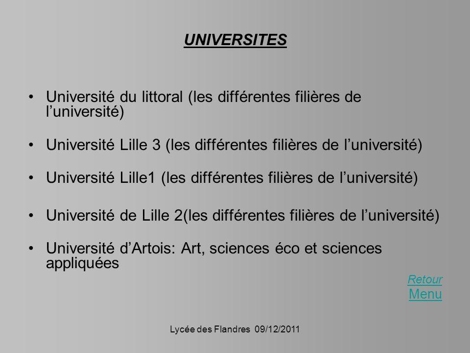 Université du littoral (les différentes filières de l'université)