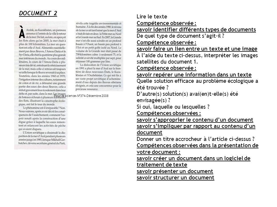 DOCUMENT 2 Lire le texte Compétence observée :