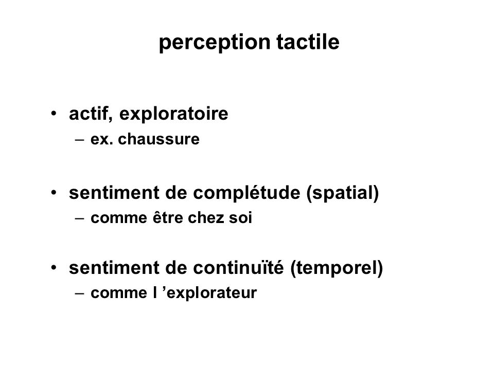 perception tactile actif, exploratoire