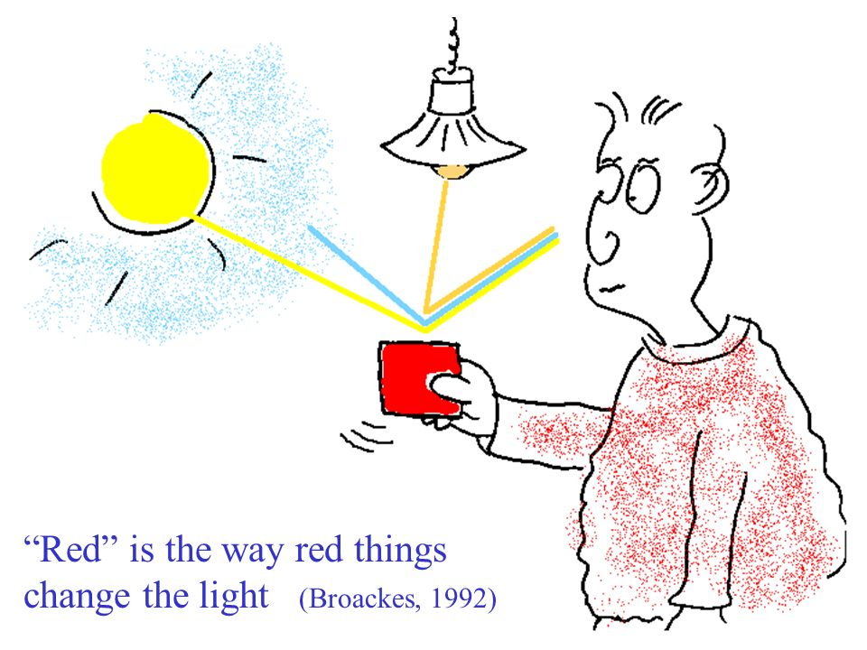 Red is the way red things change the light (Broackes, 1992)