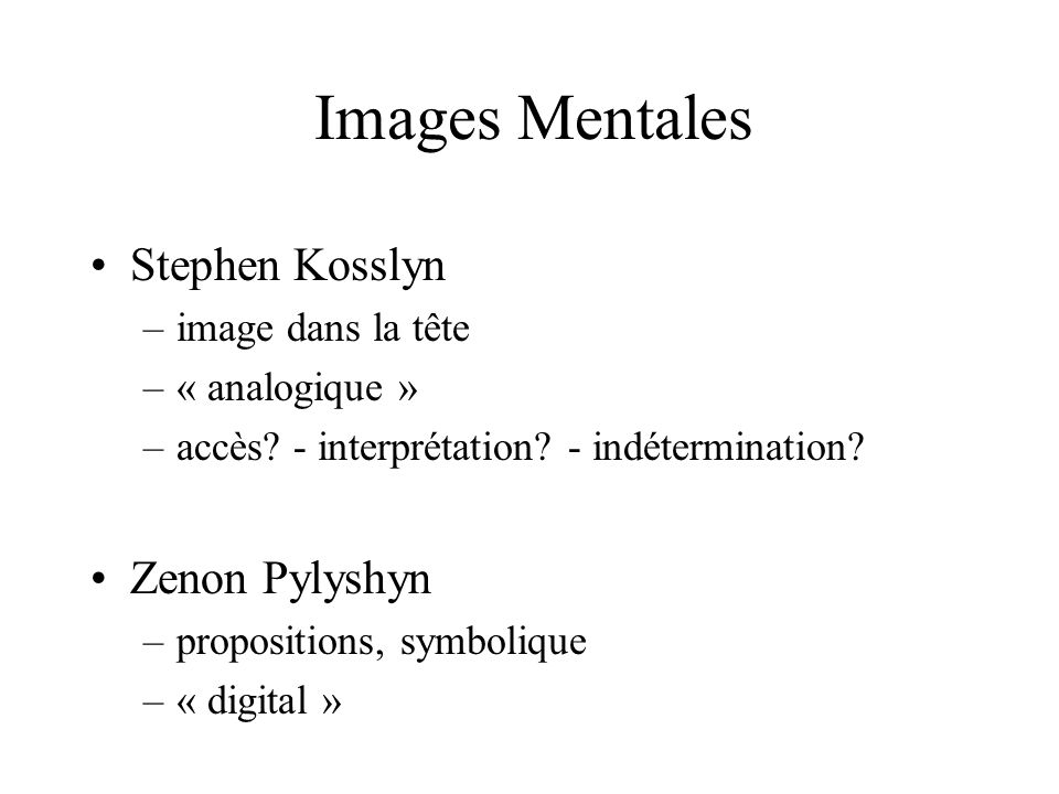 Images Mentales Stephen Kosslyn Zenon Pylyshyn image dans la tête