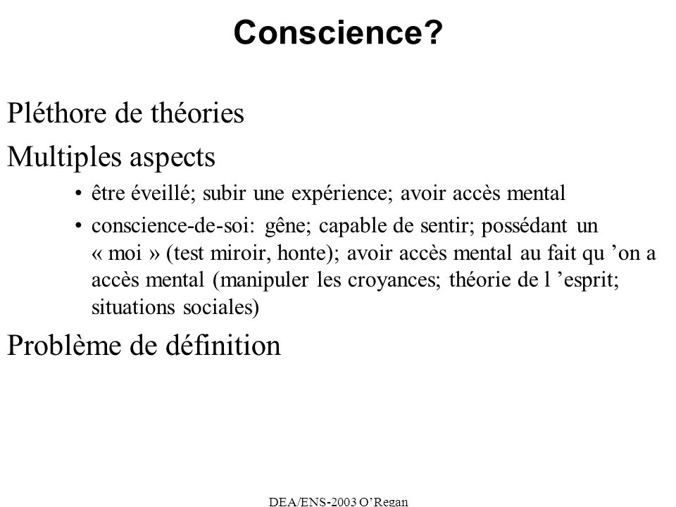 Conscience Pléthore de théories Multiples aspects
