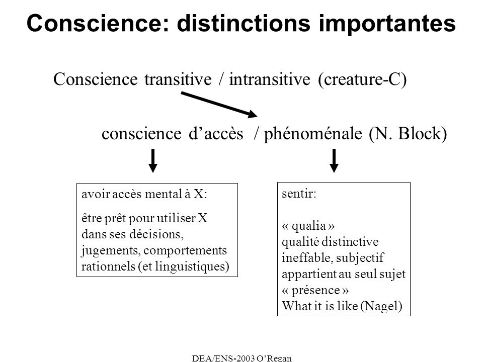 Conscience: distinctions importantes