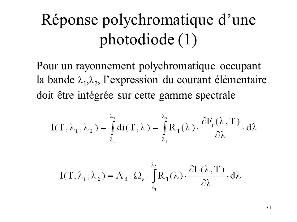 Réponse polychromatique d'une photodiode (1)
