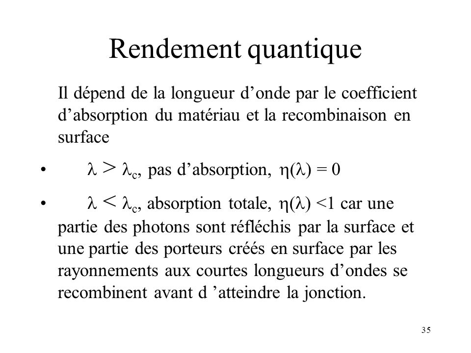 Rendement quantique  > c, pas d'absorption, () = 0