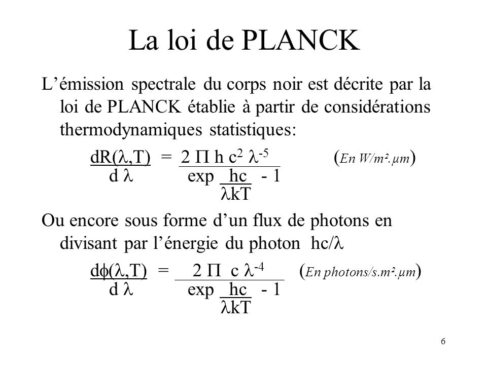 Optronique 2002 La loi de PLANCK.