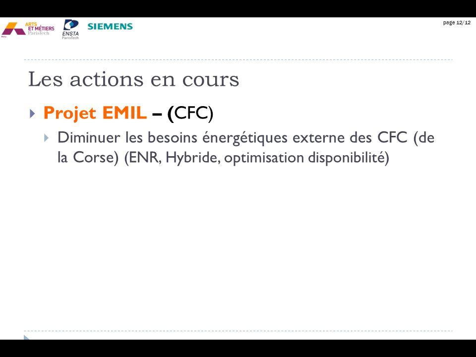 Les actions en cours Projet EMIL – (CFC)