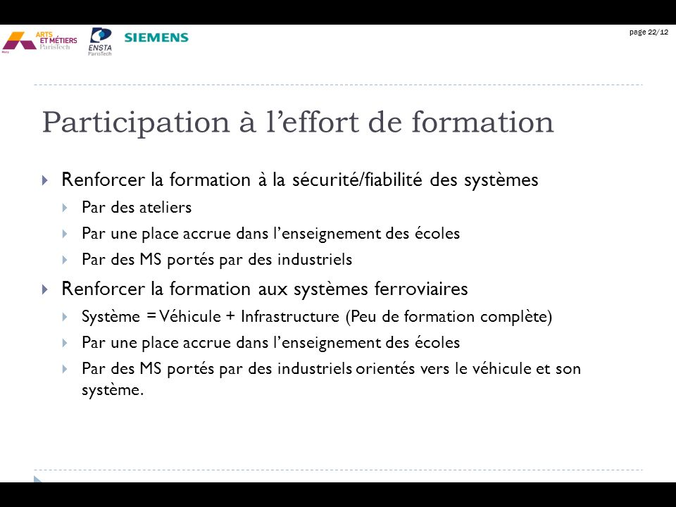 Participation à l'effort de formation
