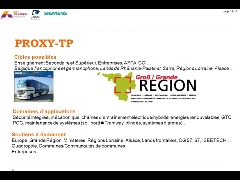 PROXY-TP Cibles possibles Domaines d'applications Soutiens à demander