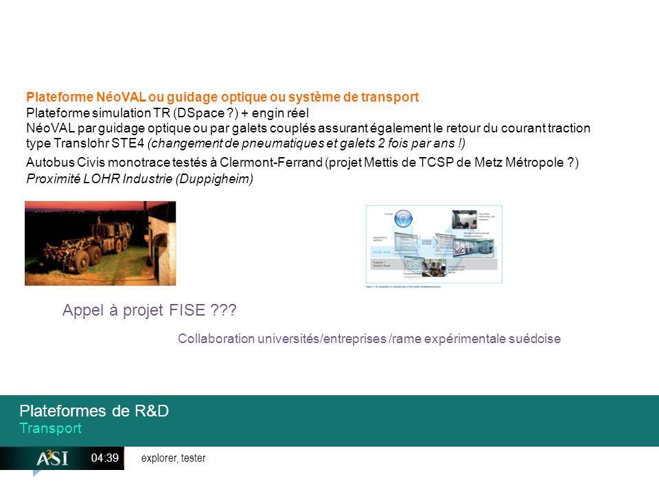 Appel à projet FISE Plateformes de R&D Transport