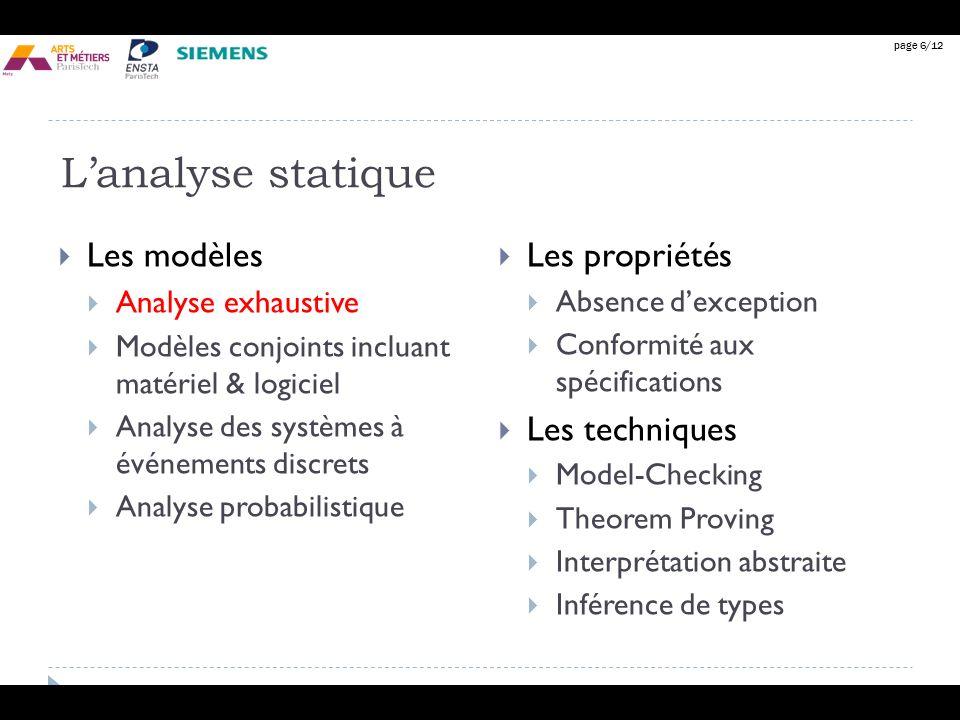 L'analyse statique Les modèles Les propriétés Les techniques