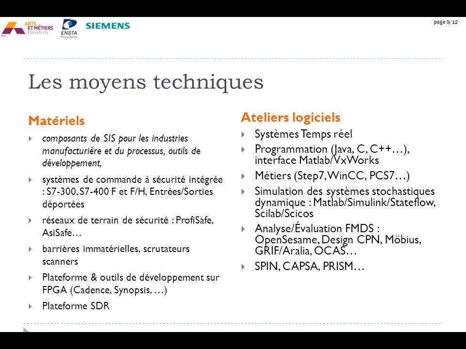 Les moyens techniques Matériels Ateliers logiciels Systèmes Temps réel
