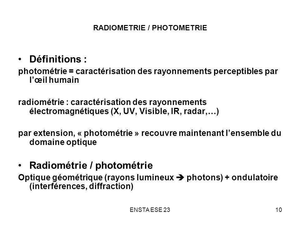 RADIOMETRIE / PHOTOMETRIE