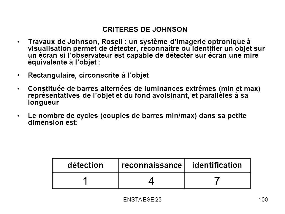 1 4 7 détection reconnaissance identification CRITERES DE JOHNSON