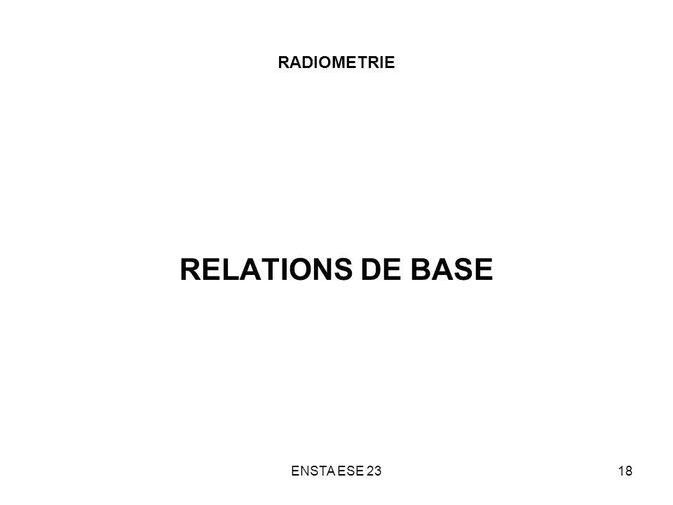 RADIOMETRIE RELATIONS DE BASE ENSTA ESE 23