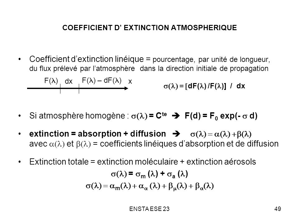 COEFFICIENT D' EXTINCTION ATMOSPHERIQUE