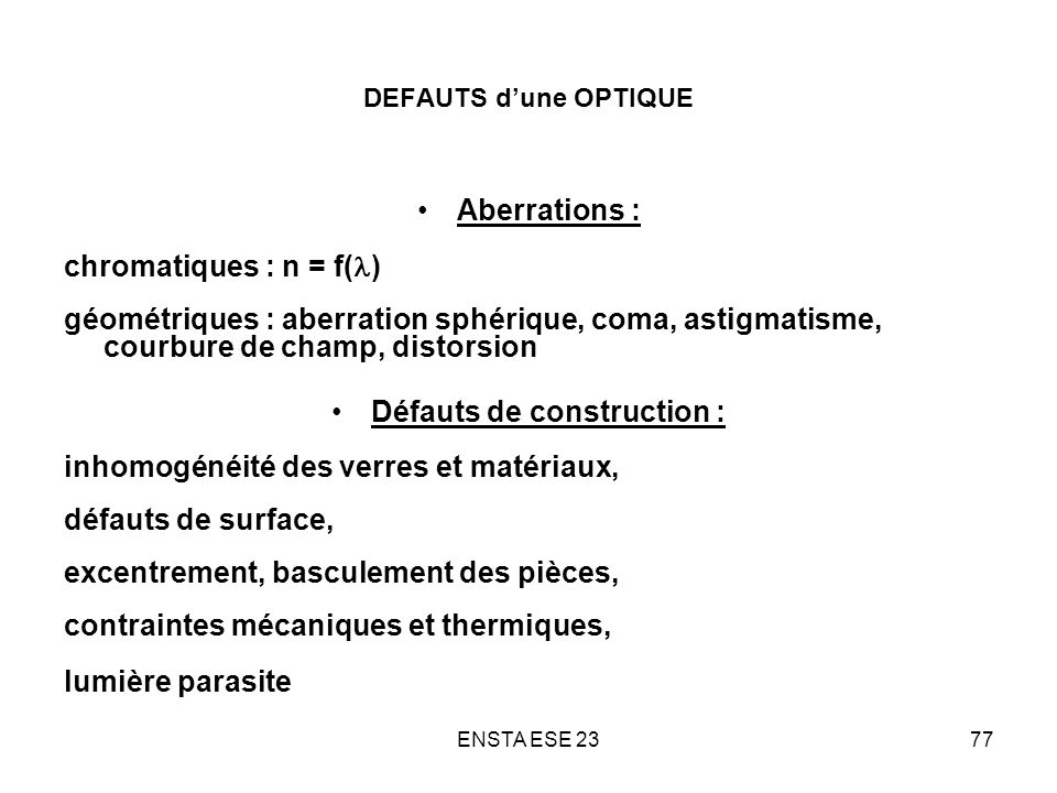 Défauts de construction :