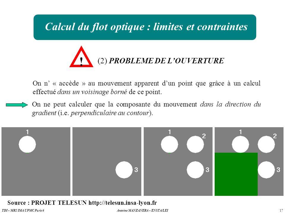 Calcul du flot optique : limites et contraintes