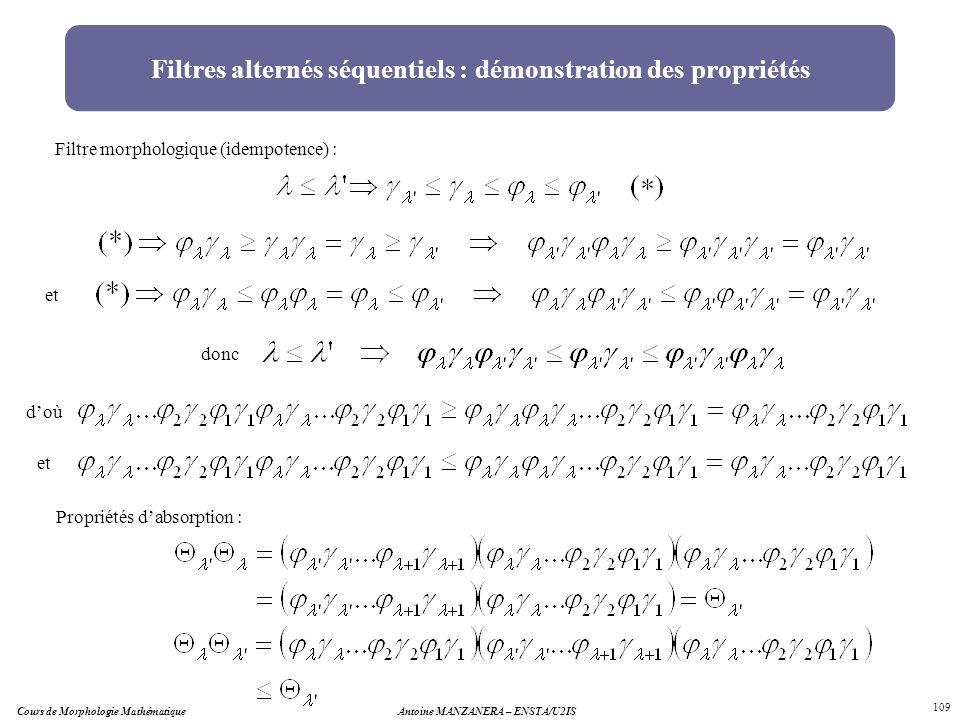 Filtres alternés séquentiels : démonstration des propriétés