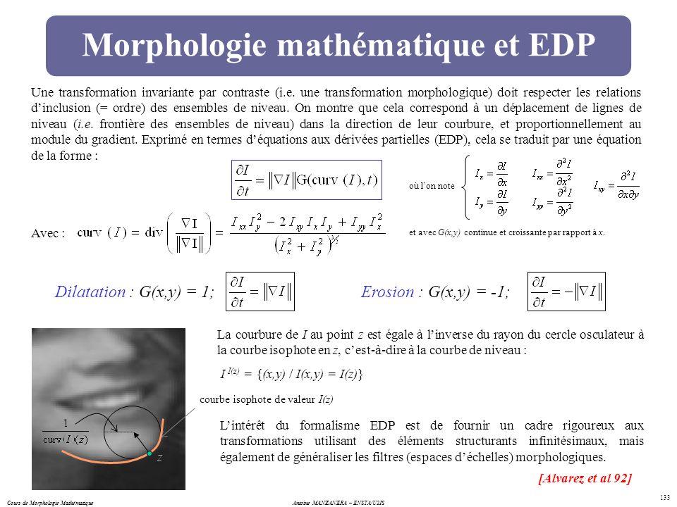 Morphologie mathématique et EDP
