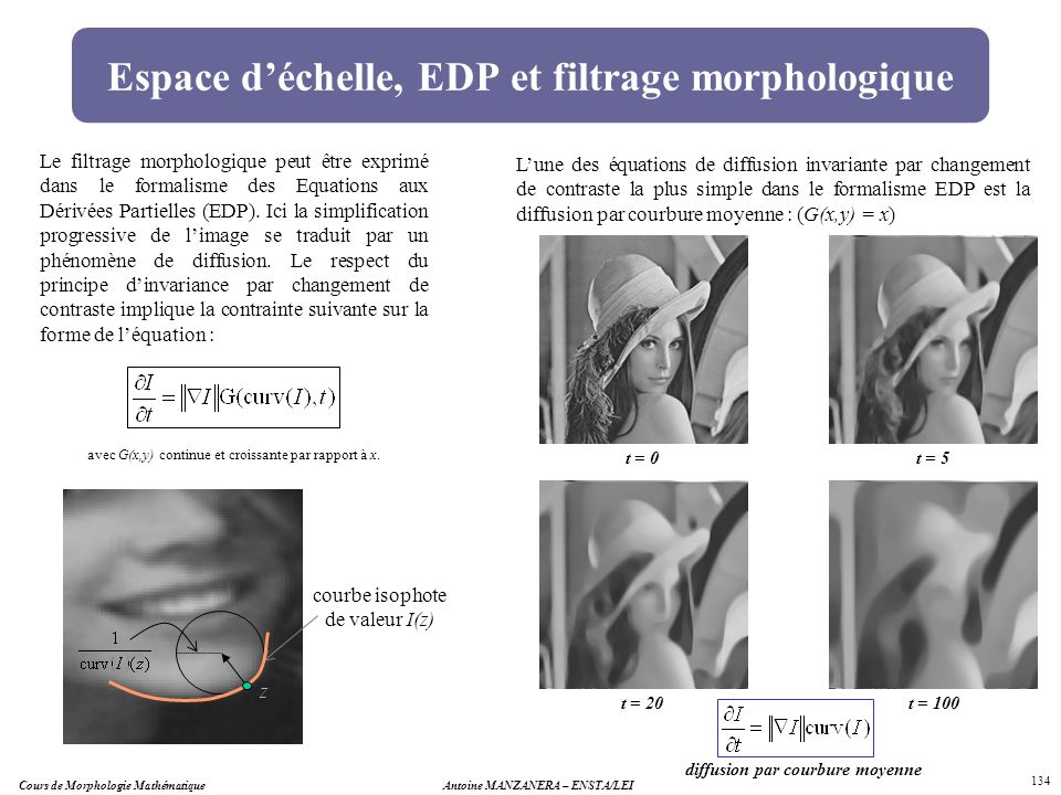 Espace d'échelle, EDP et filtrage morphologique