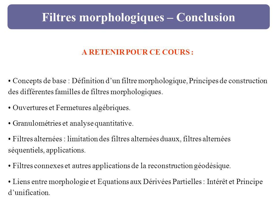 Filtres morphologiques – Conclusion