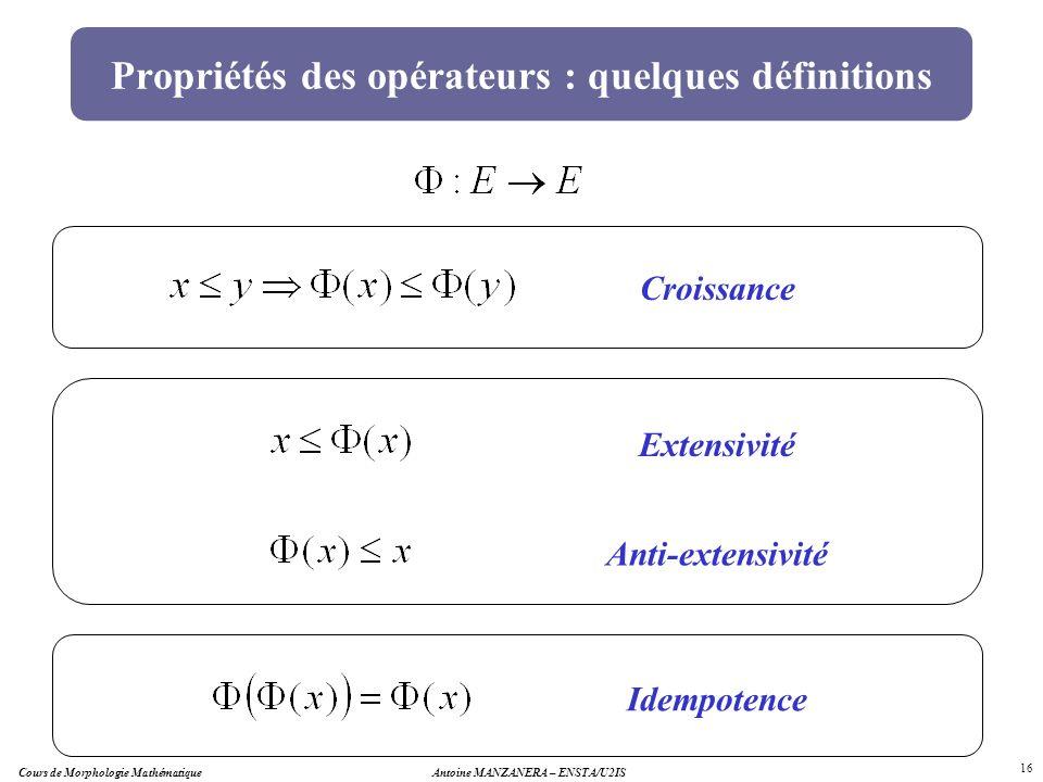 Propriétés des opérateurs : quelques définitions